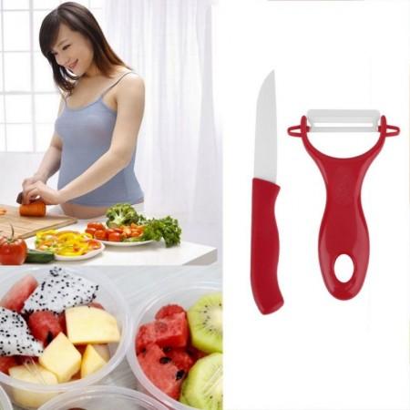 Комплект керамични белачка и нож за здравословна обработка на плодове
